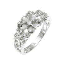 SILVER 925 HAWAIIAN 3 PLUMERIA FLOWER RING MAILE CUT OUT SCROLL RHODIUM SZ 3-10