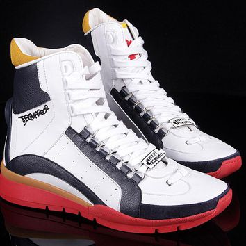 Dsquared2 Men's New Leather High Top Casual Sneakers Shoes
