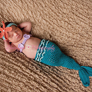 Starfish Headband, Crochet Mermaid Headband, Photo Prop