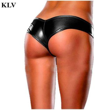 VONEFX8 Stylish Fashion 2017 5Colors Women's Sexy Panties Briefs Night Game Glossy Leather Shorts Ladies Underwear thongs knicker Jan19