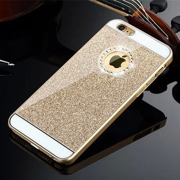 Gold Shinning Rhinestone Bling Bling Apple Logo Window Luxury Phone Back Cover Case for iPhone 4 4s 5 5s 6 6s 6 Plus 6s Plus