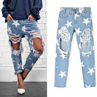 Loose cowboy straight stars printing hole hole beggar jeans trousers panty