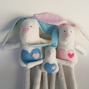 Valentine bunny family. Kids stuffed rag bunnies. Stuffed cloth  bunny. Handmade. Valentine. Easter bunnies. Nursery Decor. Baby Shower