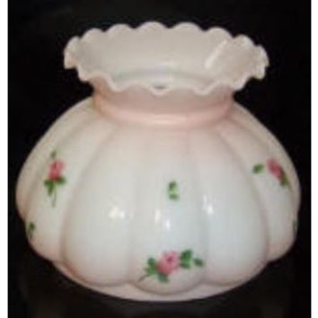 65015, - 7 Inch Pink Satin Melon Tint With Rose Buds Glass Lamp Shade