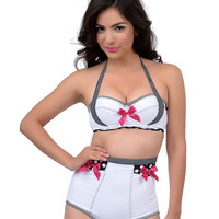 Vintage Pin Up Style Black & White Gingham Dotty High Waisted Halter Two Piece Bikini