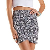 Purple Combo Paisley Print Ruched Mini Skirt by Charlotte Russe