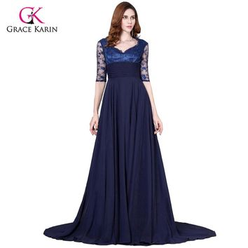 Grace Karin Navy Blue Lace Half Sleeves Evening gown