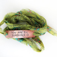 You are my sunshine bracelet, sari silk wrap bracelet, adjustable, inspirational, gift for friend