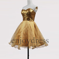 Custom Gold Sequins Short Bridesmaid Dresses 2014 Ball Gowns Party Dress Fashion Wedding Party Dress Evening Dresses Homecoming Dresses