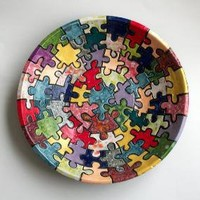 Large Serving Bowl with Puzzle Design FREE SHIPPING by JMNPOTTERY