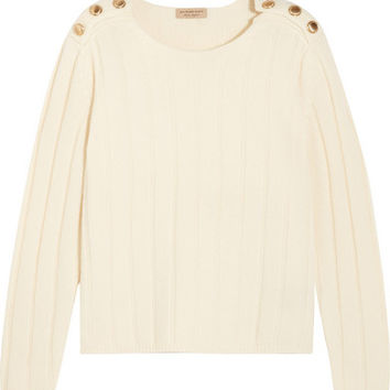 Burberry London - Embellished ribbed wool and cashmere-blend sweater