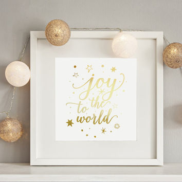 Joy To The World, Real Gold Foil Print, Christmas Print, Christmas Decor, Nursery Decor, Holiday Sign, Holiday Print, Santa Christmas, 8x10