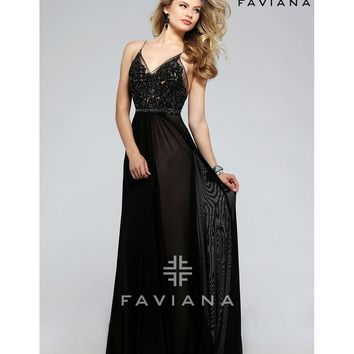 Preorder - Faviana 7717 Black Sexy Tulle Embellished Long Dress 2016 Prom Dresses