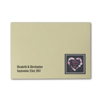 Happily Ever After Glittery Pink Hearts Wedding Post-it® Notes