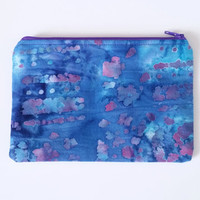 Blue & Purple Batik Lined Zipper Pouch 100% Cotton