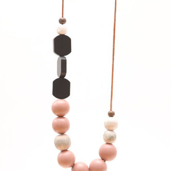 Nude pink and black wood necklace, nudes and black color block, large bead necklace fashion, abstract necklace