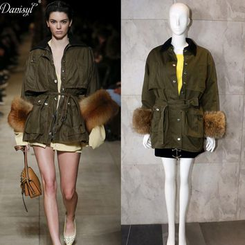 Danisyl 2017 Runway Luxury Women Brand Spring Autumn Army Green Real Raccoon fur Trench Coat Casual Military Overcoats Clothing