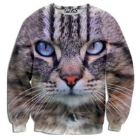 Realistic Kitty Cat Face Graphic Print Unisex Pullover Sweatshirt Sweater   Gifts for Cat Lovers