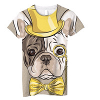 NEW! All over printed t-shirt, ladies Hipster French bulldog
