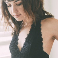 Easy on the Eyes Halter Lace Bralette - black