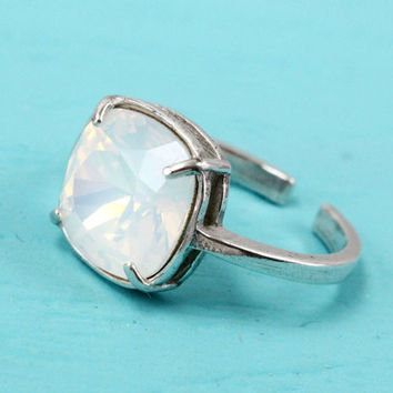 White ring, Swarovski White Opal ring, sterling silver, adjustable ring size 4-9, 10 mm cushion cut Swarovski crystal, silver ring