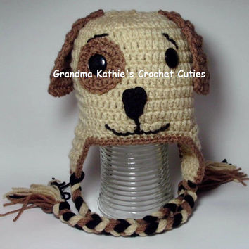Puppy Dog Hat Photo Prop. Winter Hat.  Neutral Colors. From Infant to Child Sizes