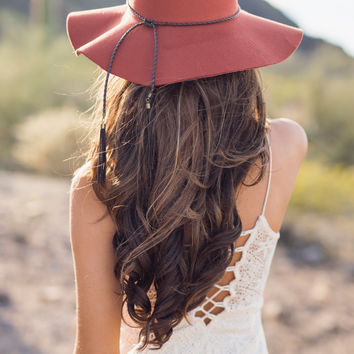 The Sweetest Thing Wrap & Tassel Detailed Floppy Hat (Burnt Orange)
