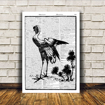 Dictionary print Crane poster Bird art Modern decor RTA165