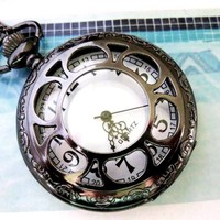 Flower Gun Metal Pocket Watch Necklace Black Steampunk Large - Wedding Jewelry | Handmade Jewelry |