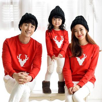 2016 Spring Autumn Family Matching Outfits Father Son Christmas Shirts Mother Daughter Dad Boy Casual Cotton Long Sleeve T-shirt