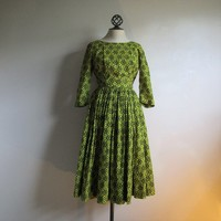 1950s Vintage Dress by Horrockses Black and Yellow Floral Full Skirt 1950s Day Dress Small