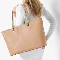 Jet Set Travel Medium Saffiano Leather Tote | Michael Kors