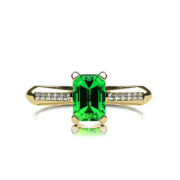 Emerald ring, diamond engagement, emrald cut, emerald engagement ring. solitaire, white gold, yellow gold, unique, green engagement, pave
