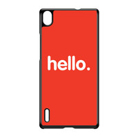 Hello Black Hard Plastic Case for Huawei P7 by textGuy