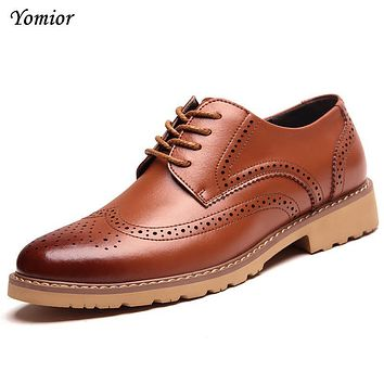 Yomior New Autumn Winter Classic Men Genuine Leather Brogue Shoes for Mens Handmade Lace-up Casual Business Office Work Zapatos
