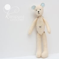 Plush felt teddy bear dressed in pants and knitted sweater, handmade teddy bear, FREE SHIPPING