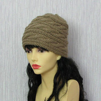 Hand Knit Hat Slouchy Hat Beanie Knit Cable hat Slouchy Beanie Oversized Baggy cabled hat women autumn accessory