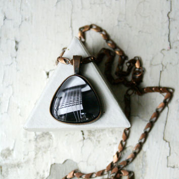 Acoustic Guitar Photo Jewelry Pendant Necklace, Music Triangle Copper Wearable Art, Music Jewelry