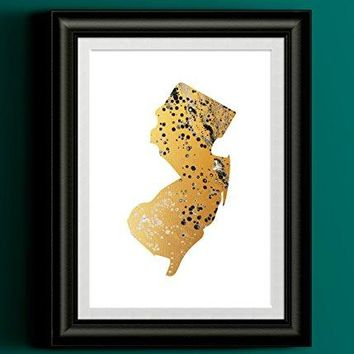 New Jersey Gold Fluid Painting Home Print
