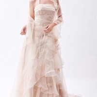 Happiness Halter Flowers/Ruched/Sequins Floor-length Sleeveless Zipper Organza Prom Dress (KDPD1221) - $179.00