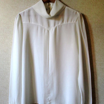 Silky Blouse Romantic White Top High Collar Vintage 70s long sleeves keyhole back sheer polyester edwardian style womens 10 Jolene Fashions