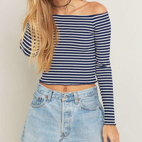 Urban Outfitters Lettuce Edge Striped Off-The-Shoulder Top - Urban Outfitters