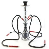 "GSTAR 18"" 4 Hose Hookah Shisha Complete Set - Metallic Da Vinci Glass Vase - Pick Your Color (Anatomia Red)"
