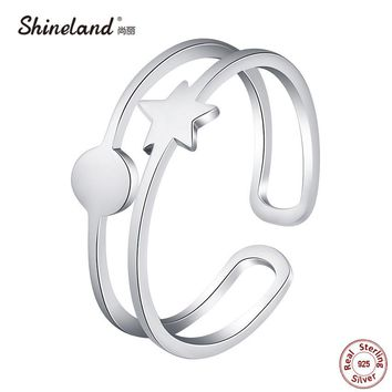 Shineland  Star High Polished Real 925 Sterling Silver Double Circle Adjustable Open Ring Women Bridal Wedding Band Anel Jewelry
