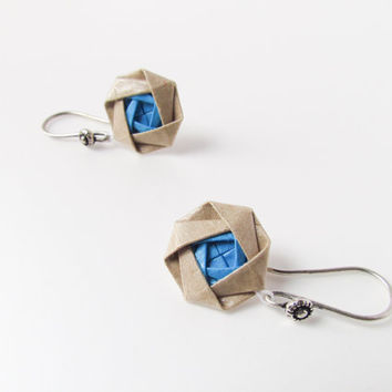Origami jewelry –Blue and beige packaging paper origami flower earring, small earring/ First anniversary/ Paper anniversary/ 1st anniversary