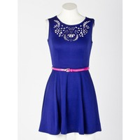 Flower Laser Cut Belted Dress