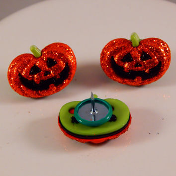 Jack O Lantern Thumbtacks - Halloween Pumpkins - Themed Whimsical office decor for holidays - college dorm, care package, autumn