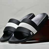 Bally New Fashion men black and white stripe slippers shoes