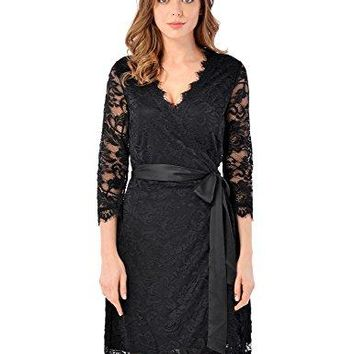 luvamia Women's Casual Knee length V Neck Solid Floral Lace Cocktail Wrap Dress