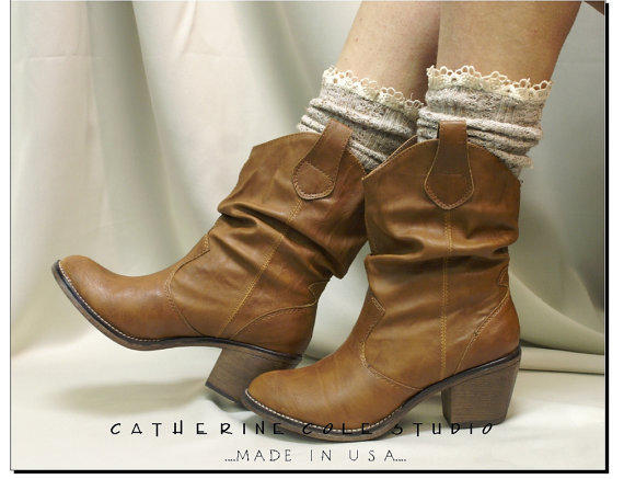 Miss Tori - Over boot  lace tweed Oatmeal cowboy boot socks by Catherine Cole Studio ruffled lace boot socks MADE IN USA (SLX204L)